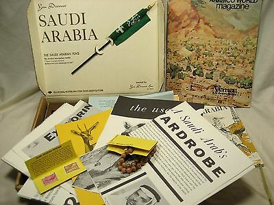 Vintage 1970's YOU Discover Saudi Arabia papers coins beads stamps and more