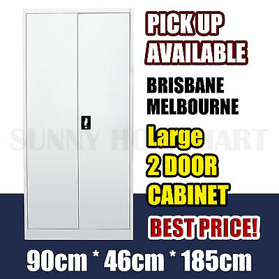 Large 2 Door Office Filing Cabinet Locker Steel Storage Cupboard Stationary deep