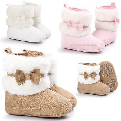 Newborn Kids Baby Girls Snow Shoes Winter Soft Sole Prewalker Crib Plush Boots