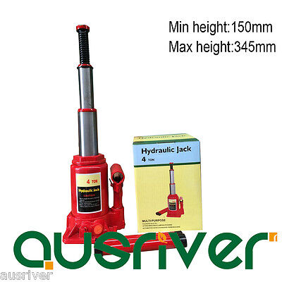 Portable 4Ton Hydraulic Bottle Jack Car Van Truck with Safety Valve Low Profile