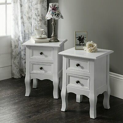 White Bedside Tables cabinets units nightstand table with 2 drawers