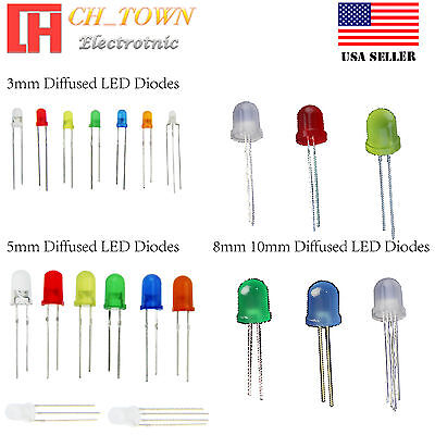 3 5 8 10mm Diffused Round Top Warm White Red Blue 3pin Bi-Color LED Diodes