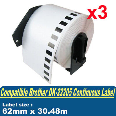 3 x Comp for Brother DK22205 Continuous Label Roll 62mm x 30.45m QL-570 QL-650