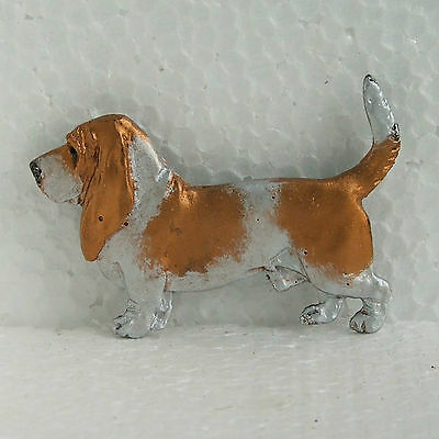 Basset Hound Red White Brooch Dog Breed Jewellery Handpainted Handcrafted Resin