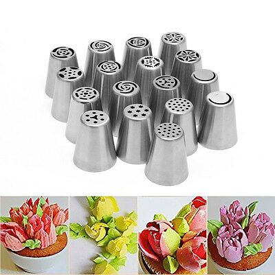 17pc Russian Rose Tulip Icing Piping Nozzle Cupcake Cake Decoration Tip Tool Set