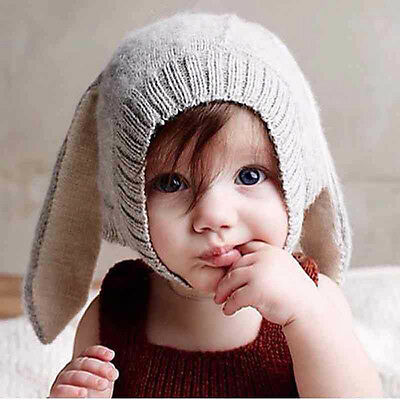 Soft Warm Winter Rabbit Ears Knitted Cap Photogragh Hat For Infants Baby Toddler