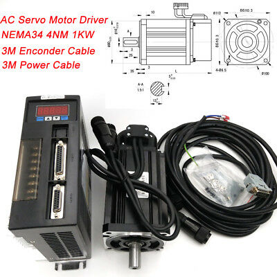 1000W AC Servo Motor Kit 4NM NEMA34 RS485 Driver CW/CCW 3M Cable for CNC Milling