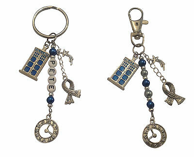 DR WHO THEMED  KEYRING or BAG CHARM, PLAIN or PERSONALISED & SAME DAY POSTAGE
