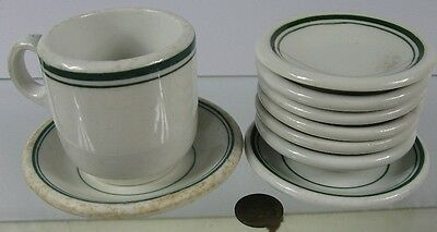 9 Vintage 1930's Small Plates White With Green Lines