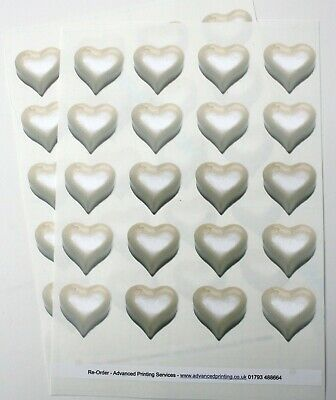 40 White Heart Wedding Envelope Seal Stickers - Realistic 3D effect (064)