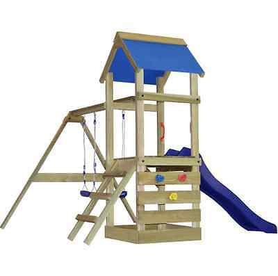Wooden Playground with Ladder Slide and Swings Garden Play House Slides Swing