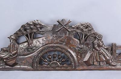 Antique Beautiful Brittany Carved Wood  Architectural Pediment