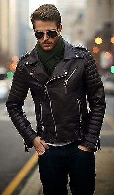 New Men's Leather Motorcycle Quilted Jacket Real Lambskin Soft Leather MJ12