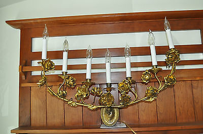 BEAUTIFUL TOLE 7 LIGHT WALL SCONCE FIXTURE 28 INCHES WIDE REWIRED READY to HANG