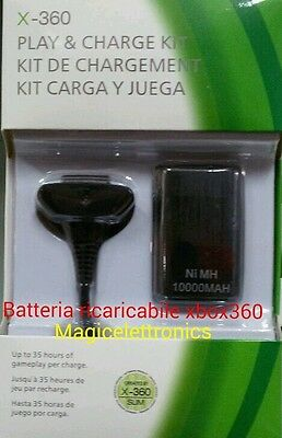 CARICABATTERIE JOYPAD joistick XBOX 360 USB CARICABATTERIA 2IN 1 anche filo