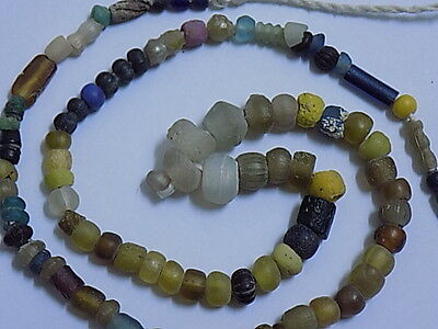 Ancient Glass Beads Strand Roman 200 BC No Reserve   #ML1732