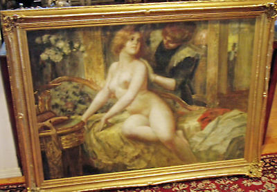 Nude Brothel Beauty  Rare 19Th C Fine & Large   Painting By.eduard . A.hoffmann