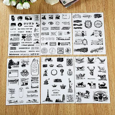 6 Sheets Retro Stamp Stickers DIY Scrapbook Ablum Diary Planner Paper For Decor