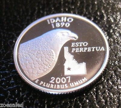 2007 S  Idaho State Silver Quarter Cameo Proof (90% Silver) // Mc 345