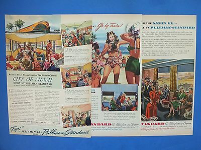 1940's PULLMAN-STANDARD Streamlined Railroad Cars Lot of 3 Magazine Ads
