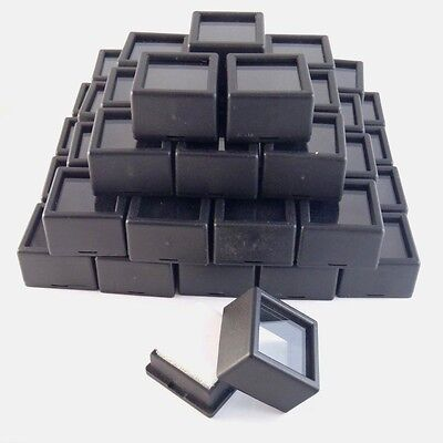 "50 PC 1-1/16x3/4"" Black SQUARE Glass Top Gem Jar/Box display gold silver coin"