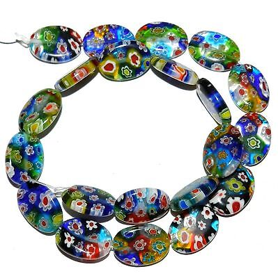 G3578L Multiple Colored Flower 18mm Flat Puffed Oval Millefiori Glass Beads 14""