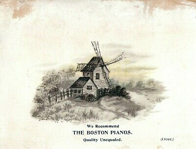 1870s-80s Windmill Stream, Geo D Schuyler, The Boston Pianos Trade Card F18