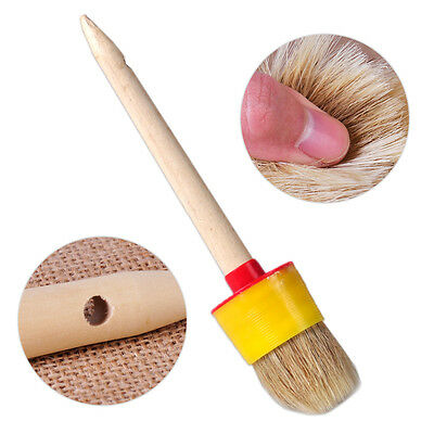 Wooden Handle 50mm Dia Round Bristle Chalk Oil Paint Painting Wax Brush