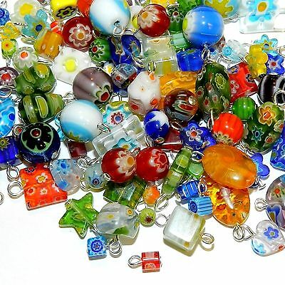 G4456 Assorted Color & Shape 4-16mm Millefiori Flower Glass Bead Silver Drop 1oz