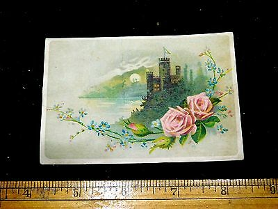 1880s Lovely Castle Moon River Chicago Cottage Organs Victorian Trade Card F19