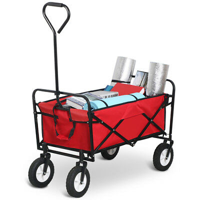 Folding Garden Trolley Trailer Rust Free Cart Hand Utility Lawn Tard Farm Wagon
