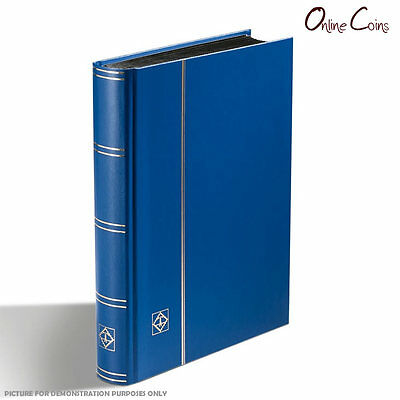 Lighthouse A5 Stockbook with 32 Black Pages and 6 Pockets per Page - Blue