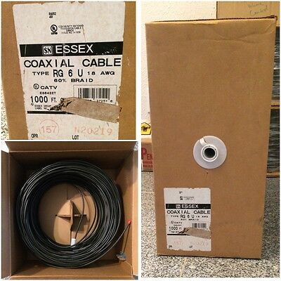 1000FT RG6U 18AWG, Pure Copper 3 Gbps Coaxial Cable, Black  Pullbox 10X4-2022TH