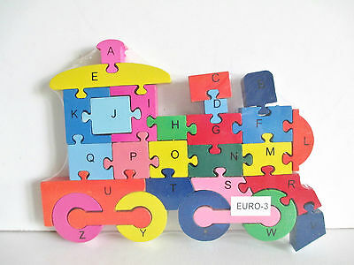 Wooden  jigsaw/puzzle train with numbers and letters,colorful educational toy