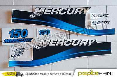 KIT adesivi MERCURY motore 150 fourstroke/efi/optimax/saltwater plastificati blu