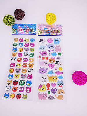 2 pcs kids cat  Animation bear Bubble stickers lot - kids teacher stickers