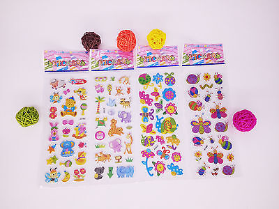 4 pcs(no repeat) cartoon animals Bubble stickers lot - kids teacher stickers