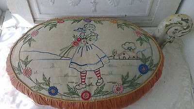 Gorgeous,large antique french boudoir sofa pillow,hand embroidered, flower girl