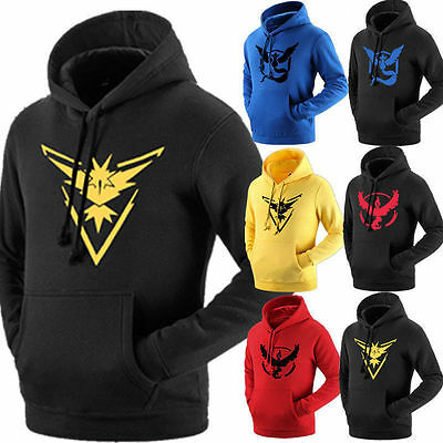 Pokemon Go Team Valor Mystic Instinct Long Sleeved Shirt Tops Hoodie clothes