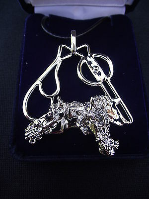 DRIVING HORSES IN HARNESS JEWELRY Platinum plated necklace keychain ZIMMER