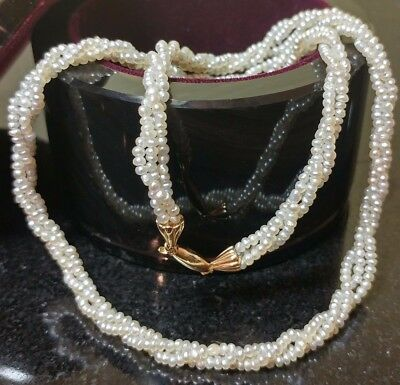 """Vintage 14K Yellow Gold 3 Strand Seed Pearl Twisted Rope Necklace 16"""""""