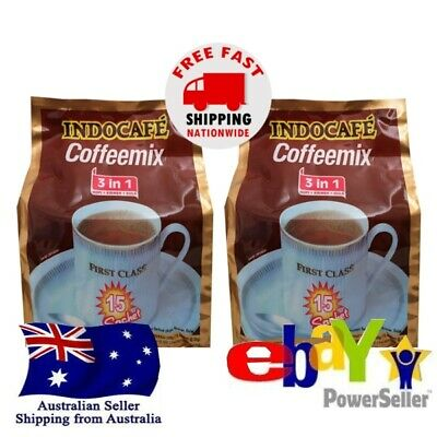2x Kopi Indocafe Coffemix Instant Coffee 3in1 Sugar Creamer 15x20g Halal • AUD 22.00