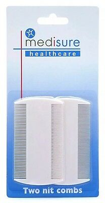 Medisure Nit Combs Twin Pack Head Lice Detection Durable Double Sided Pet 2 Pack