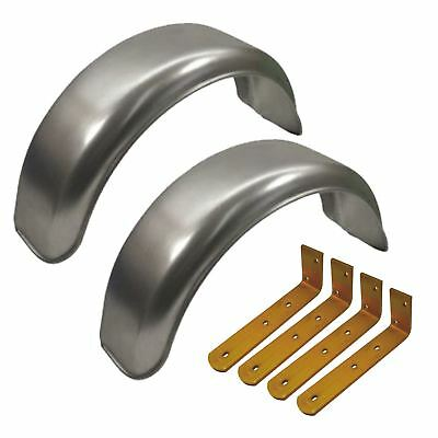 """8"""" Metal Mudguards Fender (Pair) Offset Fit & Mud Guard Angle Brackets (4 Pack)"""