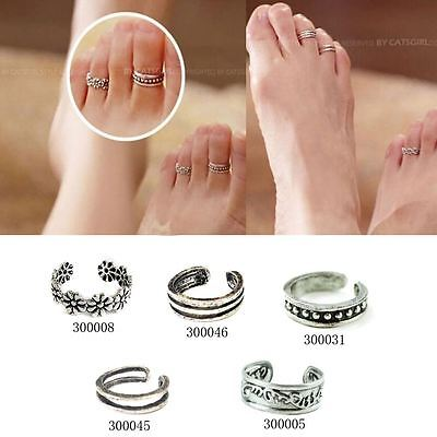 Adjustable Antique Silver Toe Rings /Midi rings carving Foot Gift Uk