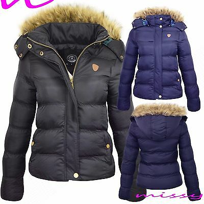 Girls Quilted Winter Coat Puffer Fur Collar Hooded Jacket Parka Size Age 7-13
