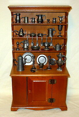 Franklin Mint Colonial American Pewter Miniatures Collection with Wooden Hutch