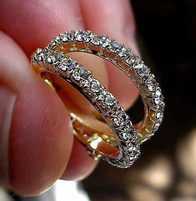GENUINE 9ct Gold gf Hoop Earrings WHITE TOPAZ! STUNNING ALMOST SOLD OUT ref 0085