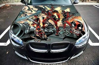 DEADPOOL BATTLE GRAPHICS Car Hood Vinyl Wrap Decal Full Color Custom Sticker