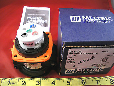 Meltric 22-14073 Receptacle Connector DXN20 20a 3P+G 250v ac 2214073 Nib New